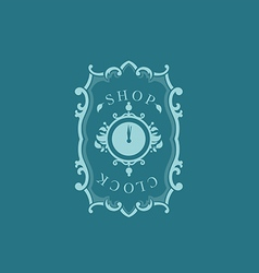 Creative logo for store hours floral frame vector image