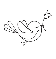 Flying bird with a flower vector