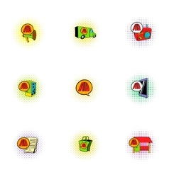 Advertising income icons set pop-art style vector