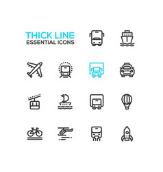 transport - modern single thick line icons vector image