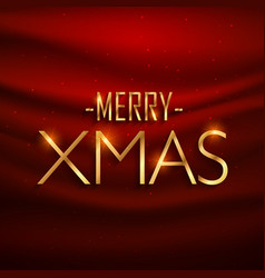 Golden merry xmas lettering on red silk background vector