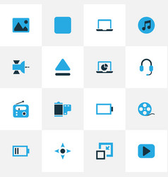 Music colorful icons set collection of arrow vector