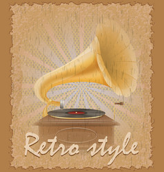 Retro style poster old gramophone vector
