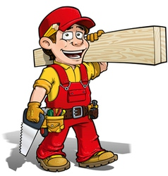 Handyman carpenter red vector