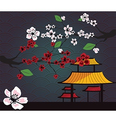 Japanese card with cherry blossom sakura and vector