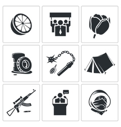 Orange revolution icons set vector