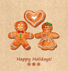 Christmas greeting card with gingerbread cookies vector