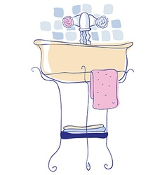 Washbasin in hand drawn icon vector