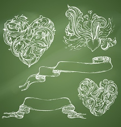 Set of romantic design elements on chalkboard vector