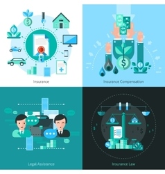 Business insurance concept icons set vector