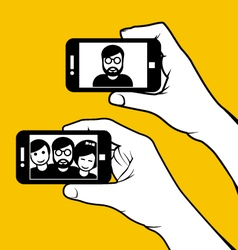Selfie with friends - hand with smartphone vector
