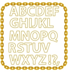 Gold chain alphabet isolated vector
