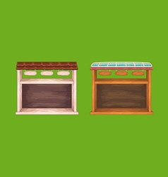 Game wooden store windows set vector