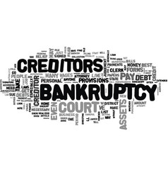 a note about personal bankruptcy text word cloud vector image vector image