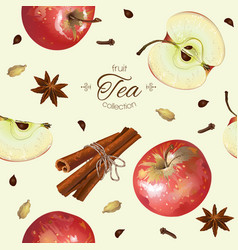 Apple tea seamless pattern vector