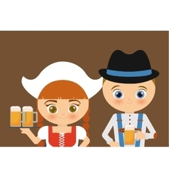 Beer Oktoberfest girl cartoon costume icon vector image vector image