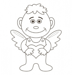 boy angel with heart contours vector image vector image