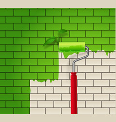 Brick wall which is painted in green color by roll vector image vector image