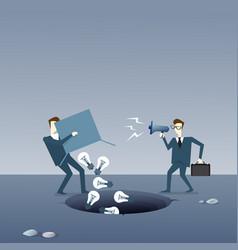 business man throwing light bulbs in hole idea vector image