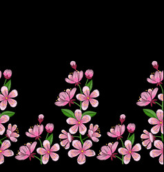 cherry blossom embroidery seamless border vector image vector image