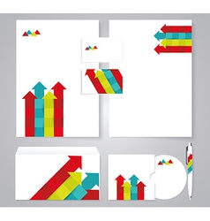 Corporate identity template with color arrows vector