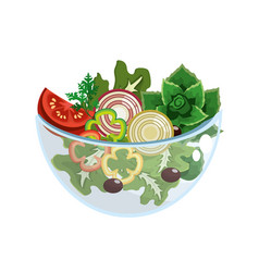 delicious fresh organ salad in the bowl vector image