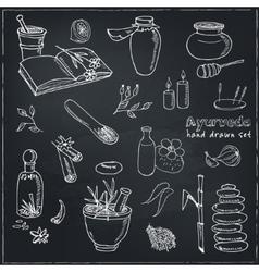 Doodle set of ayurveda elements vintage vector