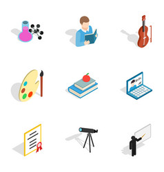 education icons isometric 3d style vector image vector image