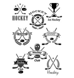 hockey sport awards emblems or icons vector image vector image