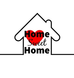 Home sweet home house red heart minimal card vector