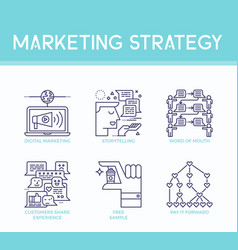 marketing strategy icons vector image vector image