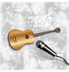 musical background with a guitar and a microphone vector image