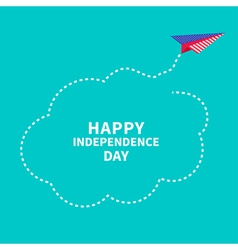 Paper plane Dash line cloud Independence day vector image vector image