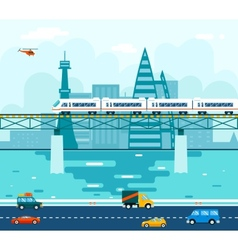 Road cars wagons on bridge over river transport vector