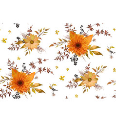 seamless floral pattern of orange yellow gerbera vector image vector image