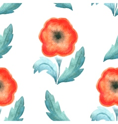 Seamless pattern red vintage flower watercolor vector image vector image