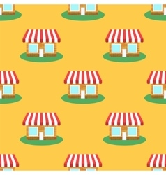 Seamless smaii shop pattern store background vector