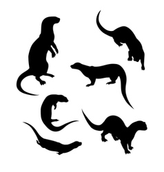 Silhouettes of a otter vector