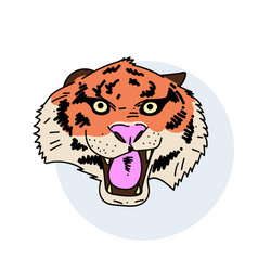 tiger face hand drawn image vector image