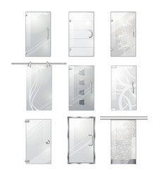 transparent glass clear door collection on white vector image