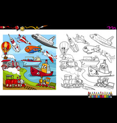 transport vehicles coloring page vector image vector image