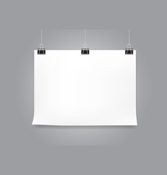 white paper hanging with black clip vector image