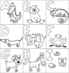 Coloring book with alphabet vector image