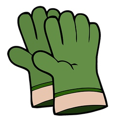 Pair Of Green Gardening Hand Gloves vector image