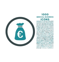 Euro money bag rounded icon with 1000 bonus icons vector