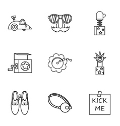 Funny joke icons set outline style vector