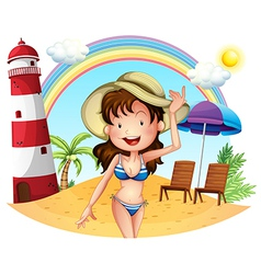 A girl enjoying summer vector