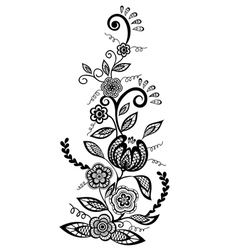 Floral element black-and-white flowers and leaves vector
