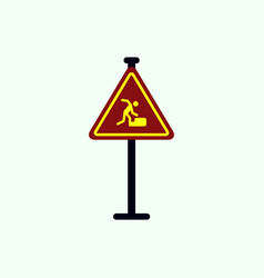 Warning falling on the stairs road sign vector