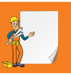 cartoon engineer blank paper vector image